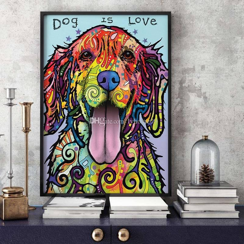2018 Modern Animal Oil Painting No Framed Cute Bedroom Colorful Dog Wall  Decor Art On Canvas For Kids Gift From Lvhome09, $6.85 | Dhgate.Com