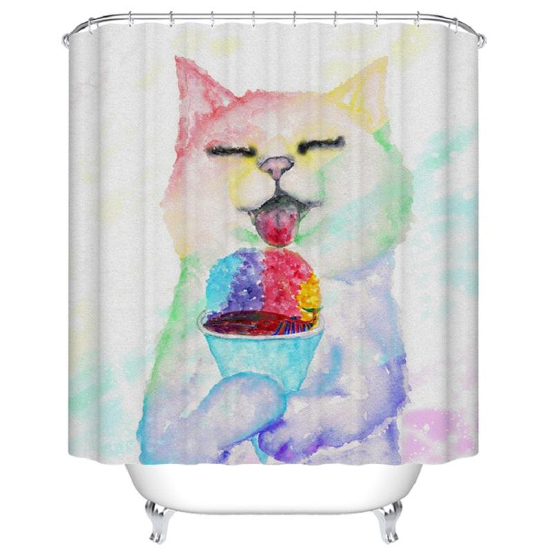 2019 Shower Curtain Funny Cat Printed Waterproof Polyester Bath 180x180cm Bathroom Accessories Curtains Home Decoration From Williem