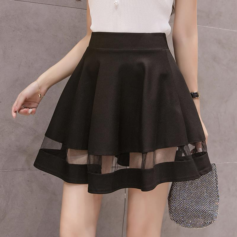 37bb33abf442 2019 2018 New Women Black Mini Skirt Summer High Waist A Line Skater Skirts  Female Casual Short Pleated Skirt Woman Culottes From Mangcao, $26.5 |  DHgate.