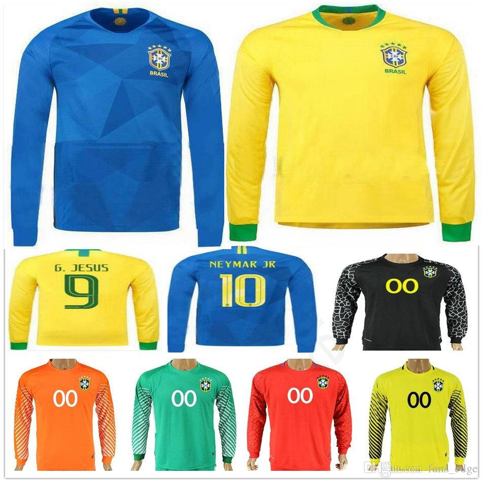 the best attitude a5d62 20c39 2018 Brasil Long Sleeve Football Jersey Shirt 10 NEYMAR JR PELE COUTONHO  MARCELO Customize Yellow Blue Home Away Soccer Jerseys Shirts
