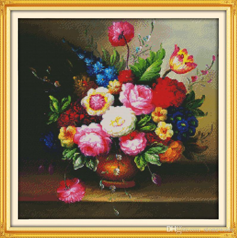 225 & Flower vase oil painting home decor paintings Handmade Cross Stitch Embroidery Needlework sets counted print on canvas DMC 14CT /11CT