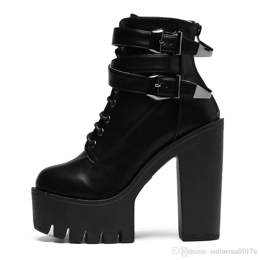 Compre 2018 Otoño Moda Botas De Mujer Tacones Altos Plataforma Hebilla  Cordones De Cuero Botines Cortos Negro Zapatos De Las Señoras De Buena  Calidad A ... e18700d9513