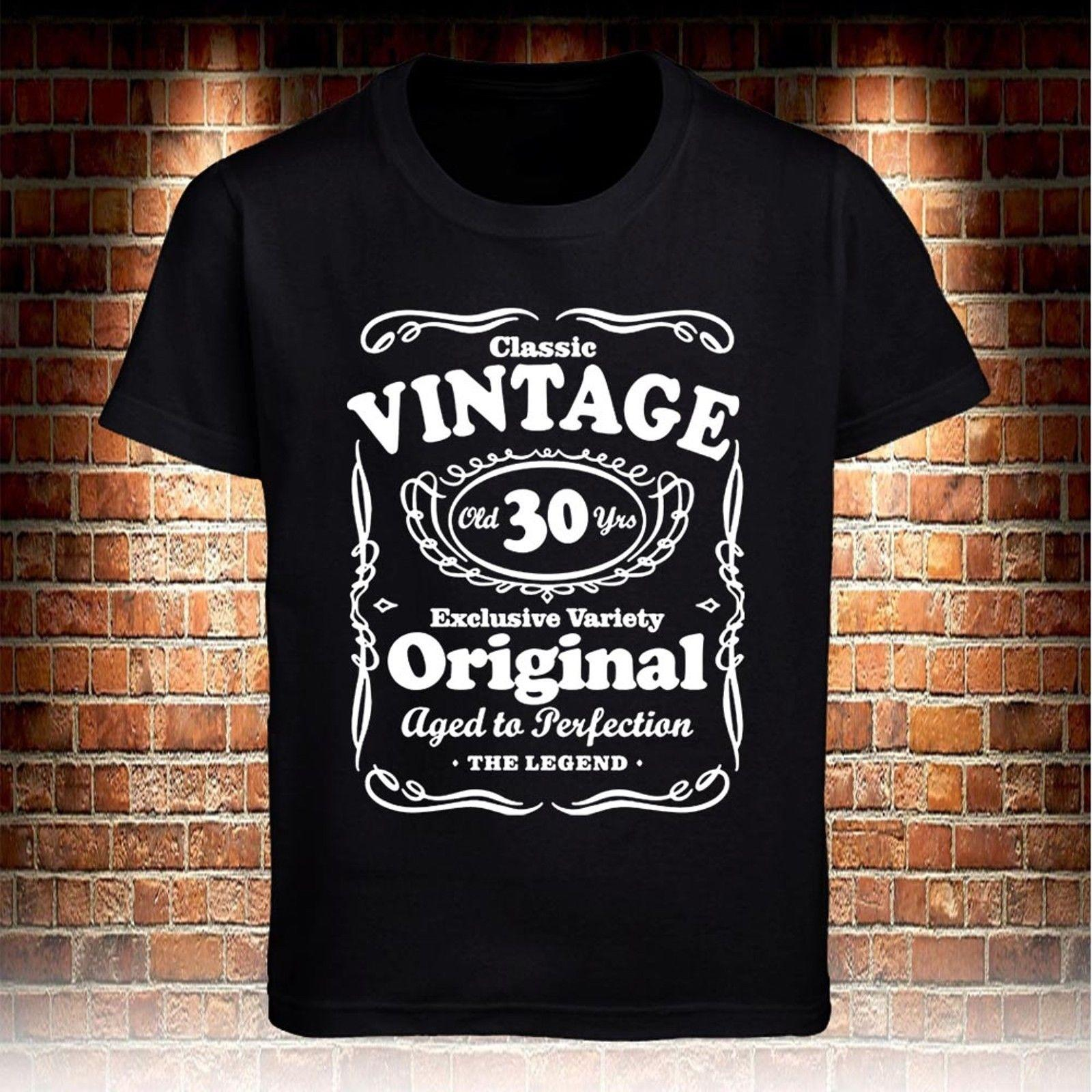 0a07c3c36 Vintage 30th Birthday Gift Age Perfection Funny Black Mens T-shirt Size S to  3XL O-neck Fashion Printed mens Cotton T-shirt Round Neck man's