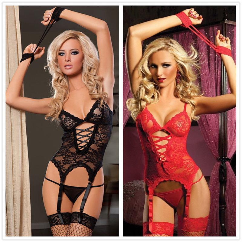 Sexy Lingerie Donna Lace Dress Red Babydoll Sleepwear + Set intimo G-string