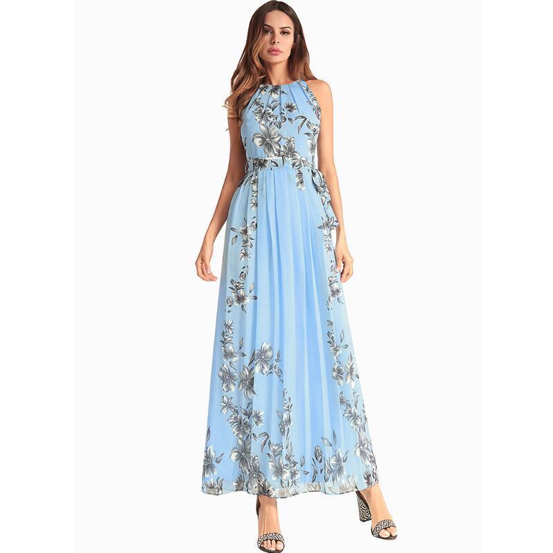 7ee57c933fc9b SWENEARO Women Dresses Floral print halter chiffon long dress Women  Fashionable Bohemian beach Dresses brand dress Women s S-XXL