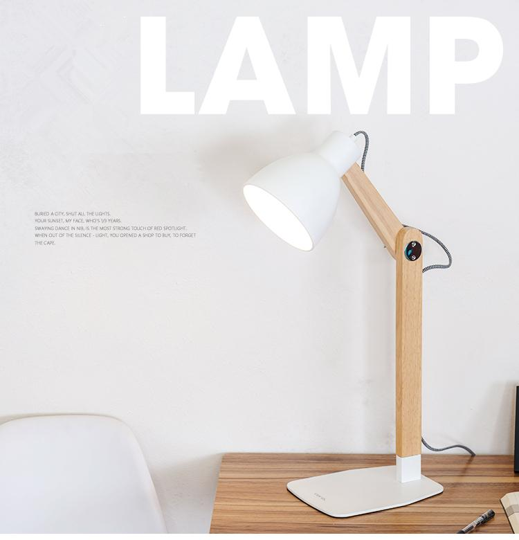2019 Nordic Wood Table Lamp With E27 Dimmer Switch Iron Lampshade