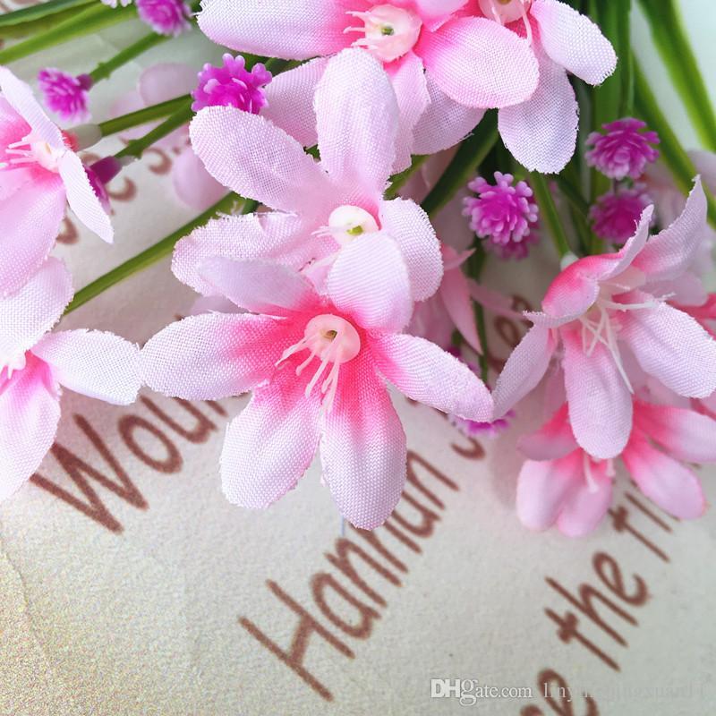 7 cabezas de flores artificiales hierba orquídea planta pequeño plástico tenedor viga comercial flores para el hogar decoración al aire libre