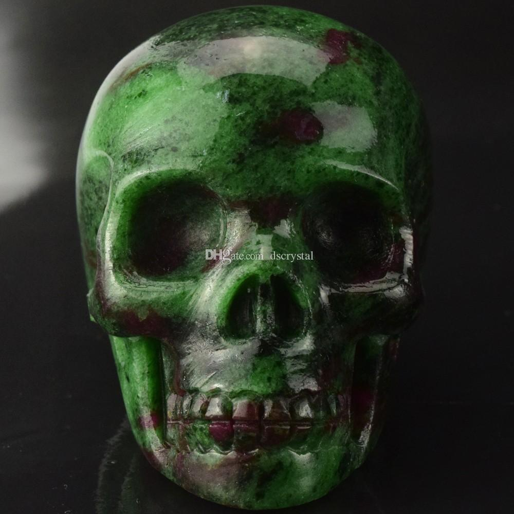2 INCHES hand carved malachite crystal skull, green gemstone human alien head for healing Reiki Halloween gifts