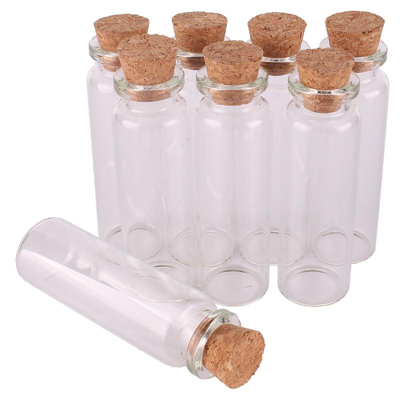 18ml Size 22*70*12.5mm Mini Glass Perfume Spice Bottles Tiny Jars Vials With Cork Stopper pendant crafts wedding gift