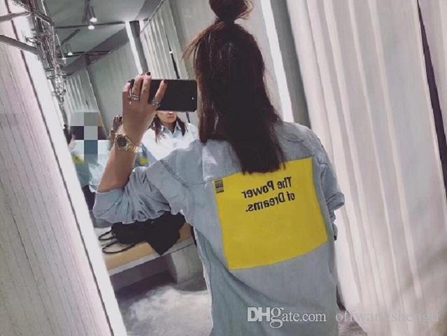 2018 fashin new style men and women`s oversize Lapel shirt Letters and yellow block prints 34--38