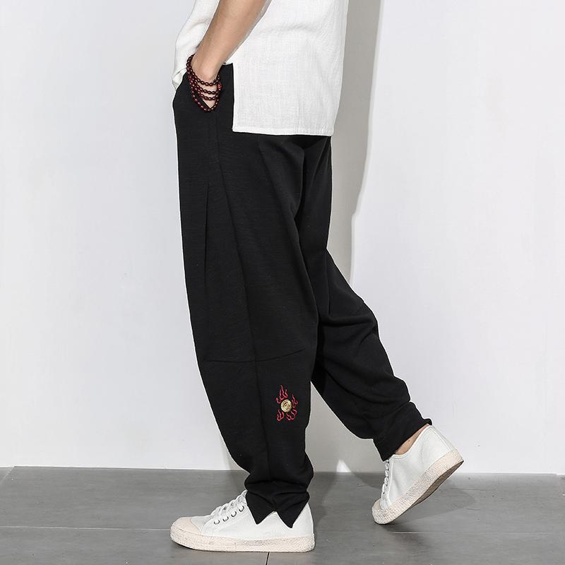 Acquista Pantaloni Di Lino Estate 2018 Pantaloni Larghi Uomo Stile Elastico  In Vita Pantaloni Di Lino Lunghi Pantaloni Beige Verde Militare A  63.73  Dal ... 76534b3c4751