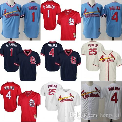 info for 3c2a8 237ae Men's 4 Yadier Molina 25 Dexter Fowler 1 Ozzie Smith Jersey St. Louis  Embroidery Baseball Jerseys Cheap sales Free Shipping