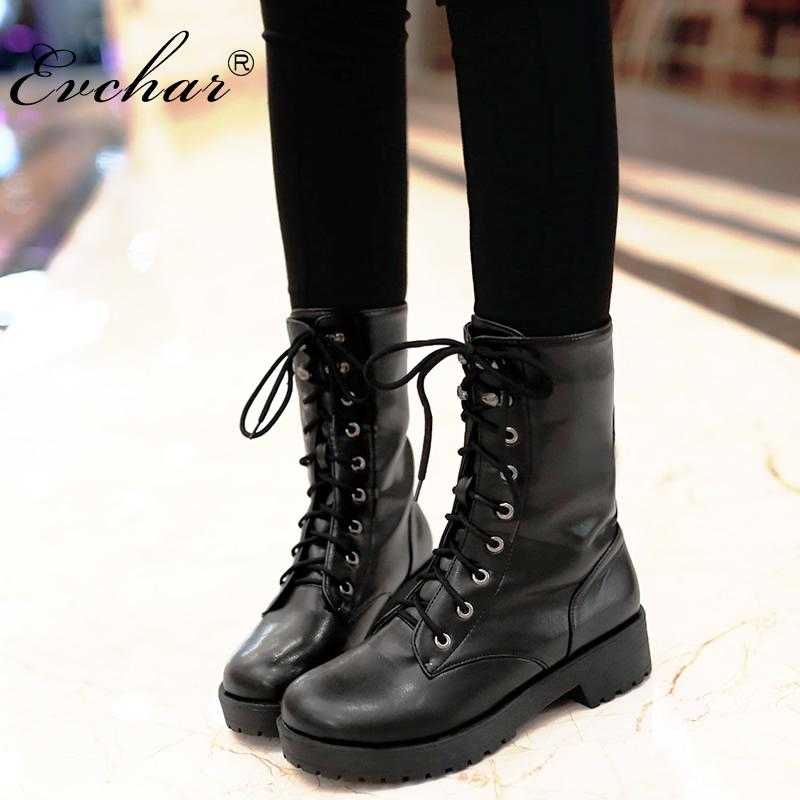 New Handmade Autumn And Winter Lace Up Mid Calf Boots Women Chunky Heel  Round Toe Motorcycle Low Heel Boots Large Size 34 43 Peep Toe Booties Cat  Boots From ... eaddcfbe90cd