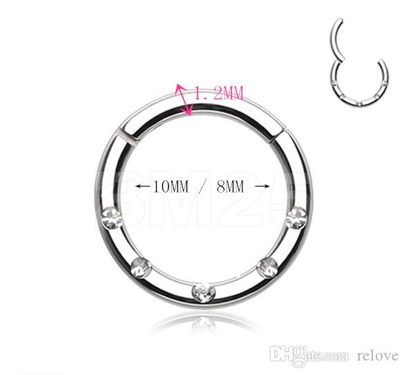 Piercing Nose Ring Nose Stud Hoop with Rhinestone Septum Clicker Ring Piercing Nose Clip Rings Body Piercing Jewelry