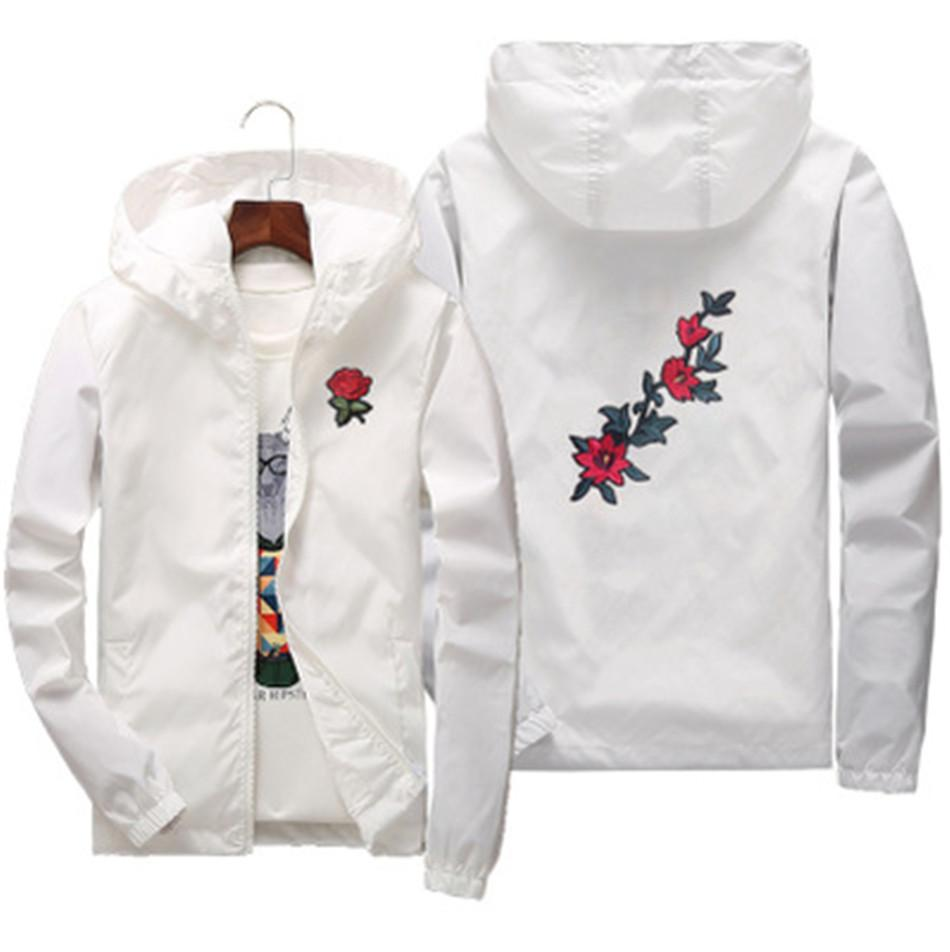 Rose Jacket Windbreaker Men Women Children Family Jackets New Fashion White And Black Roses Outwear Coat M3-421