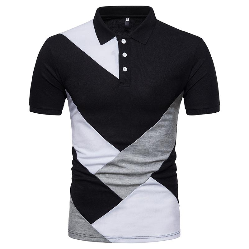 New Summer Shirt Geometry Patchwork Color Casual Style Male Slim ... 7aea04314