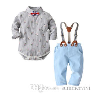 ea6479df93e3a Boys outfits kids floral printed lapel long sleeve romper stripe Bows tie  double pocket suspender pants 3pcs sets Baby boys clothing F1826