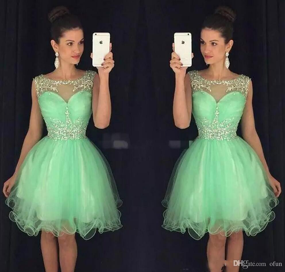 301aaa84e8b Stunning Scoop Crystal Beaded Mint Green Cocktail Party Gowns Organza Sleeveless  Short Homecoming Dresses A Line Club Wear Custom Made Dress Online Sale ...