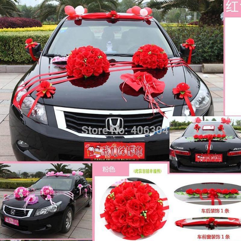 Grosshandel Kunstliche Blumen Hochzeit Auto Blume Dekoration Set Rot
