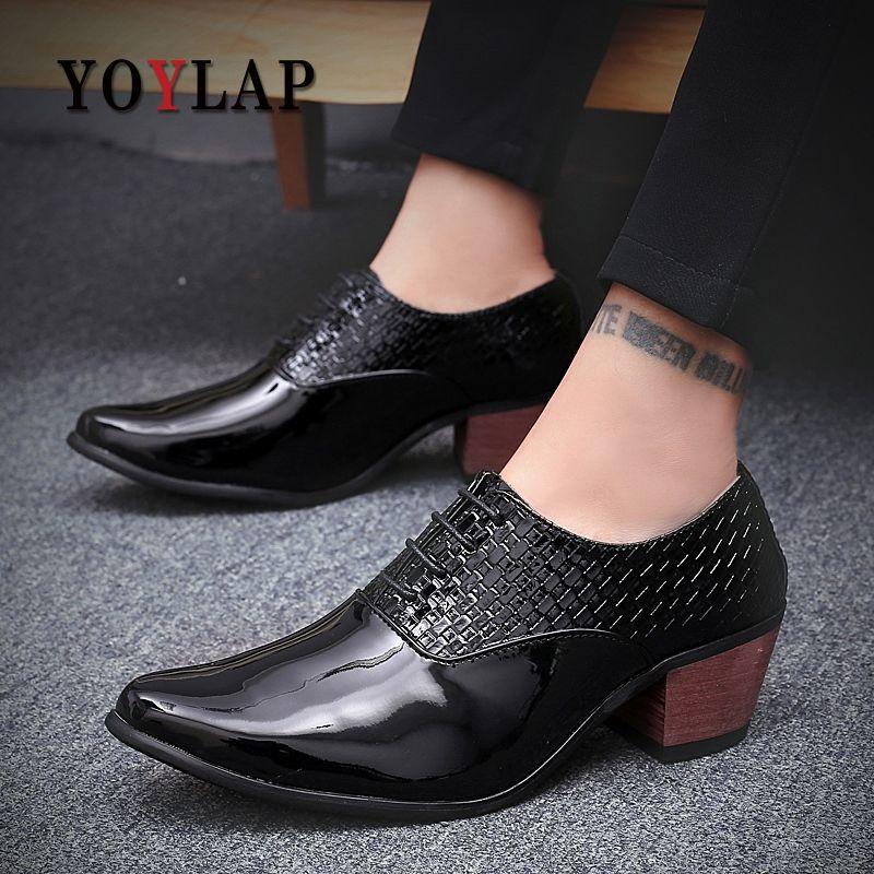 a704c291 Compre Zapatos De Boda Para Hombre En Blanco Y Negro De Gentsman 6 Cm  Zapatos De Vestir De Cuero Brillante De Tacón Alto, 2,3 Pulgadas De Talla  Mediana, ...