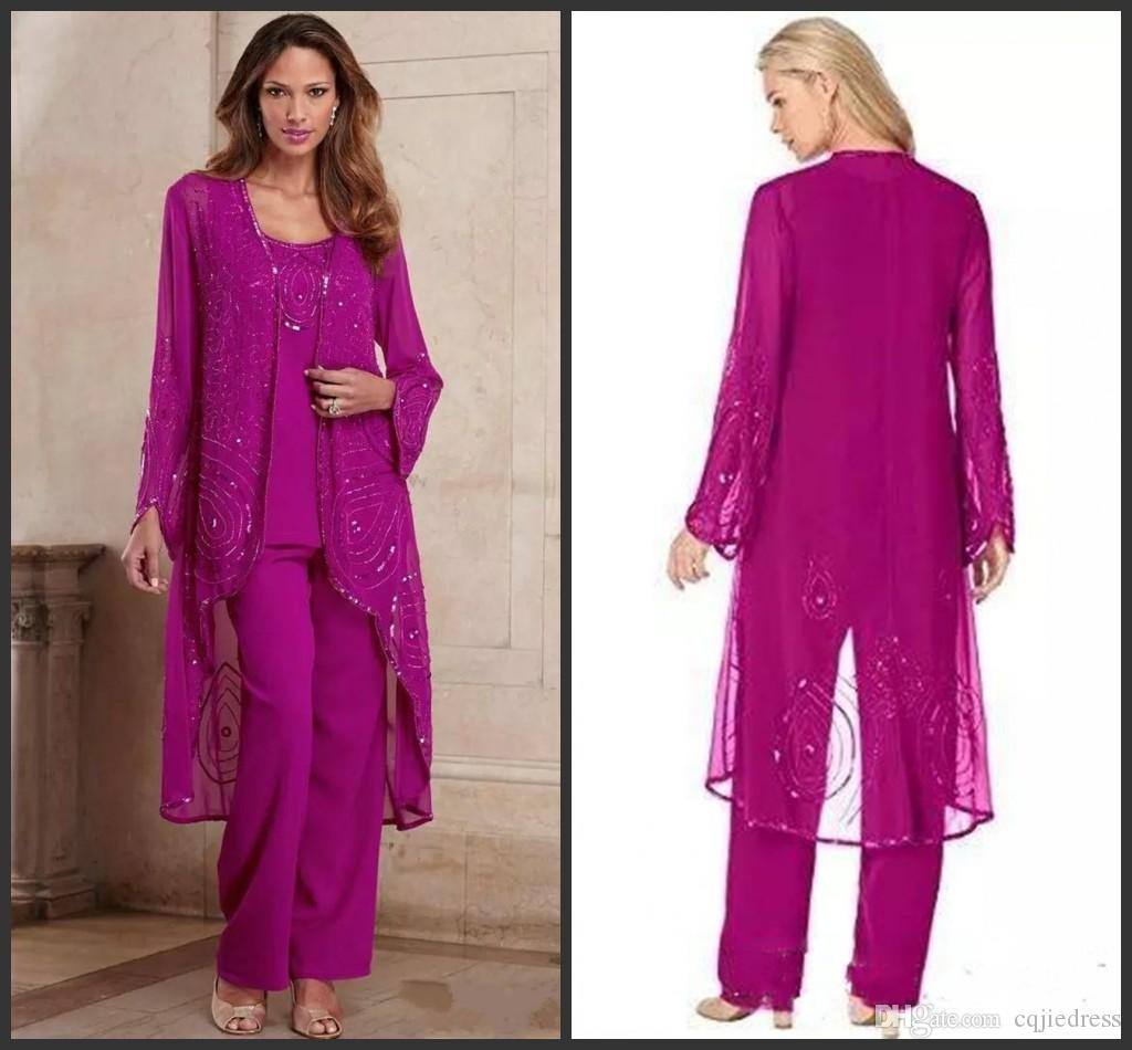 e3898a93087 New Plus Size Fuchsia Mother Of Bride Pant Suit Three Pieces Chiffon Mother  Formal Wear Beaded Special Occasion Mothers Pantsuit With Jacket Mathar Son  ...