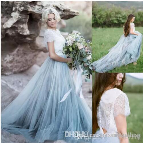 compre vestidos de novia blanco y azul país occidental 2 piezas