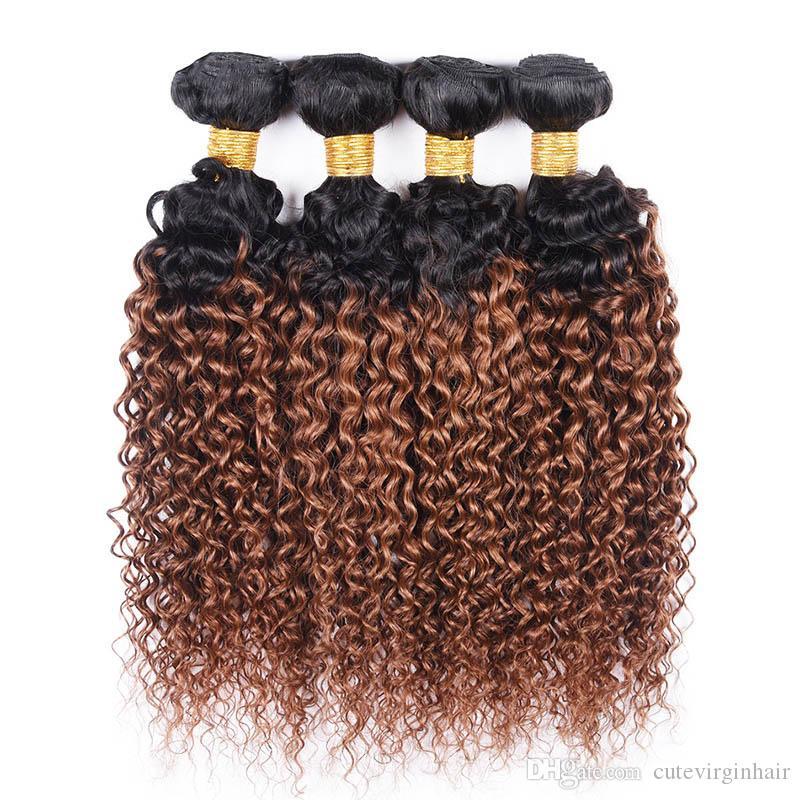 곱슬 머리 곱슬 1B / 30 인간의 머리카락 직물 4 번들 색상 말레이시아 브라질 페루 버진 인간의 머리카락 옹 브르 적갈색 /