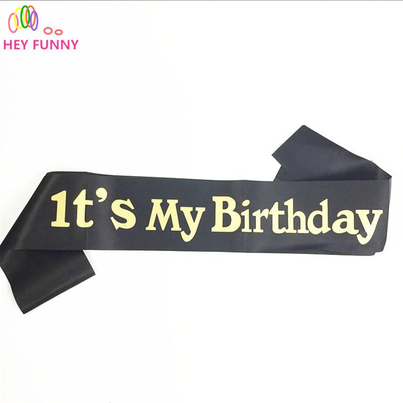 1 piece Event party supplies glitter gold its my birthday sash adult gift  souvenir ribbons birthday party decoration 155cm 180cm