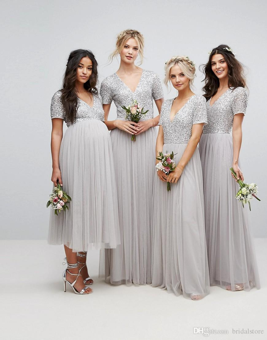 Silver Sequin Country Bridesmaid Dresses With Short Sleeve Plus Size Sexy V  Neck Full Length Maid Of Honor Dress Rustic Pregnant Tulle 2018 Cotton ... a3d4089350ce