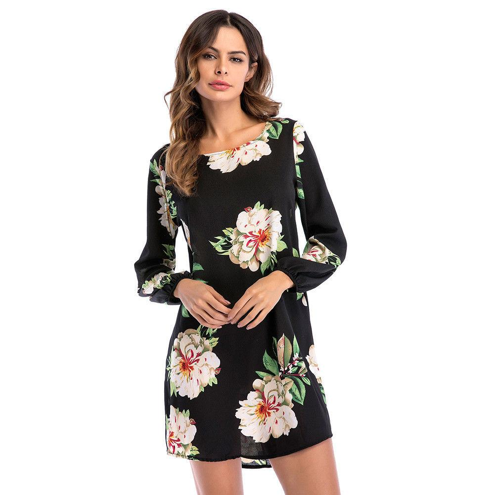 d127643a73087 Women Boho Dress Chiffon Floral Kimono Long Sleeve Ladies Wrap Holiday  Beach Summer Dress Print Casual Mini Vestido Plus Size Party Dress Buy Dress  From ...