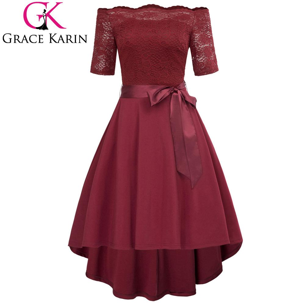 f514f7e454e3 2019 Sexy Off Shoulder Dresses 2018 Summer Women Half Sleeve High Low Retro  Party Dresses Wine Red Black Vintage 50s Vestido Bow Belt From Cover3127