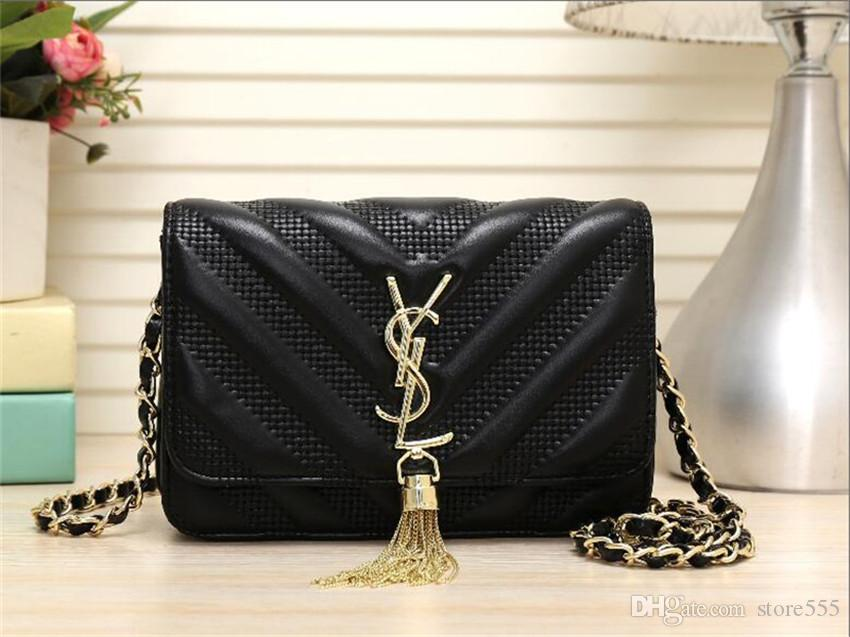 Luxury Designer Handbags Solid Black Wallets Luxury Designer Elegant Leather  Metal Tassel Crossbody Bag Handbag Evening Bags Luxury Handbag Handbags ... 4687d2317aea4