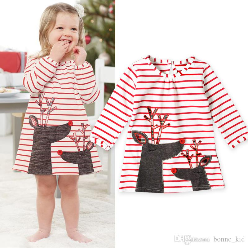 16b467f588411 Christmas Baby Girl Clothes Dresses Reindeer Toddler Long Sleeve Cute  Children Clothing Vestidos Striped Animal Dress Boutique Outfits