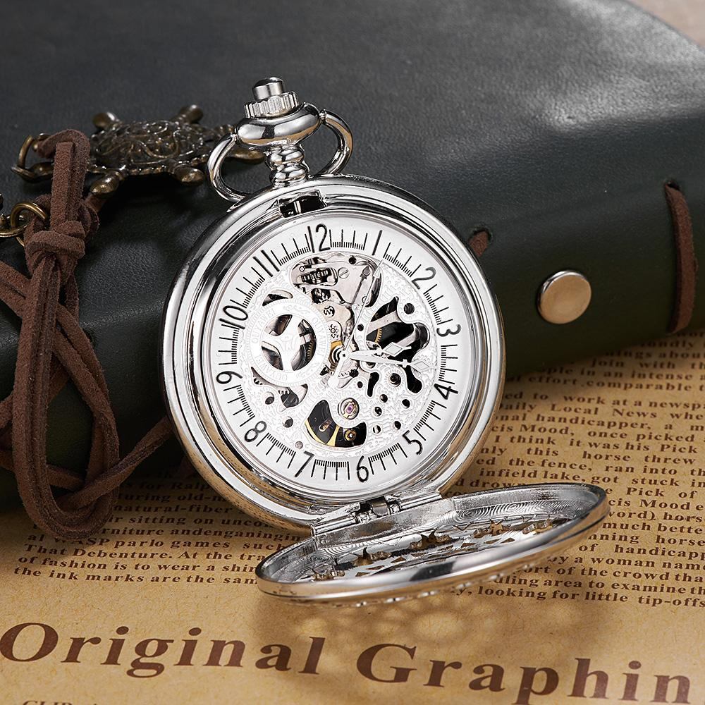 b4d2e4976 OUYAWEI Brand Men Fashion Casual Pocket Watch Skeleton Dial Silver Hand  Wind Mechanical Male Fob Stainless Steel Chain Watches Pocket Watch Swiss  Watches ...