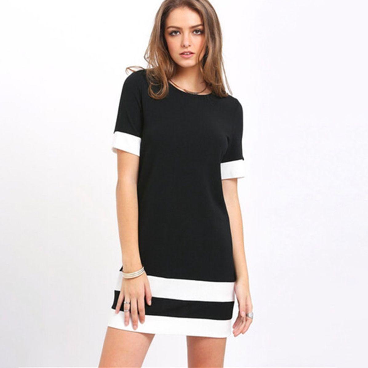 441009f08d2 Vintage Dress Women Summer Style Women Bodycon Dresses Sexy 2018 Casual  Black White Office Short Sleeve Mini Striped Dress Bridesmaid Dress Plus  Size Formal ...