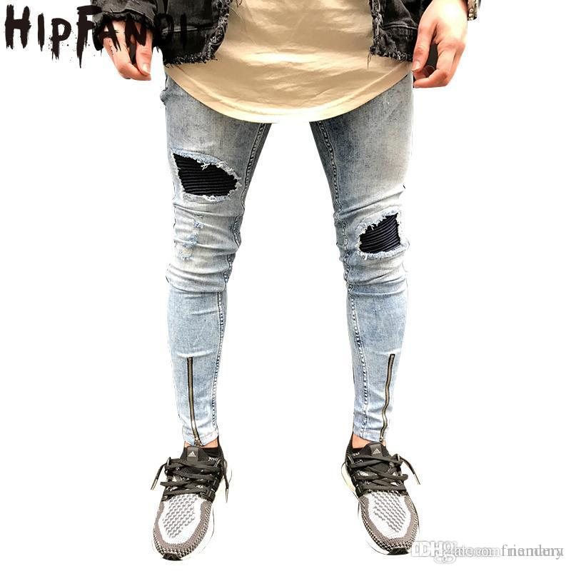 a0cd2e17a835 2018 HIPFANDI 2017 New Fashion High Quality Men Skinny Jeans Big Hole In Knee  Pants Thigh Ankle Zipper Hip Hop Ripped Jeans From Namany