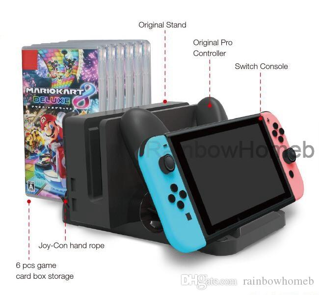Multifunction Charging Dock Station Game Card Box Storage Holder for Switch Joy Con Pro Controller USB Type C Charger Stand Bracket Sample