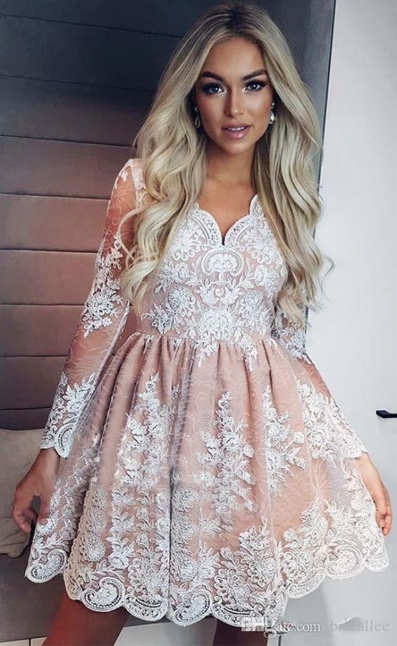 c1614dfc2 Dusty Pink A Line Homecoming Dresses 2018 Knee Length V Neck Long Sleeve  Lace Appliques Graduation Dress Party Gown Short Prom Dress Cute Short  Dresses ...