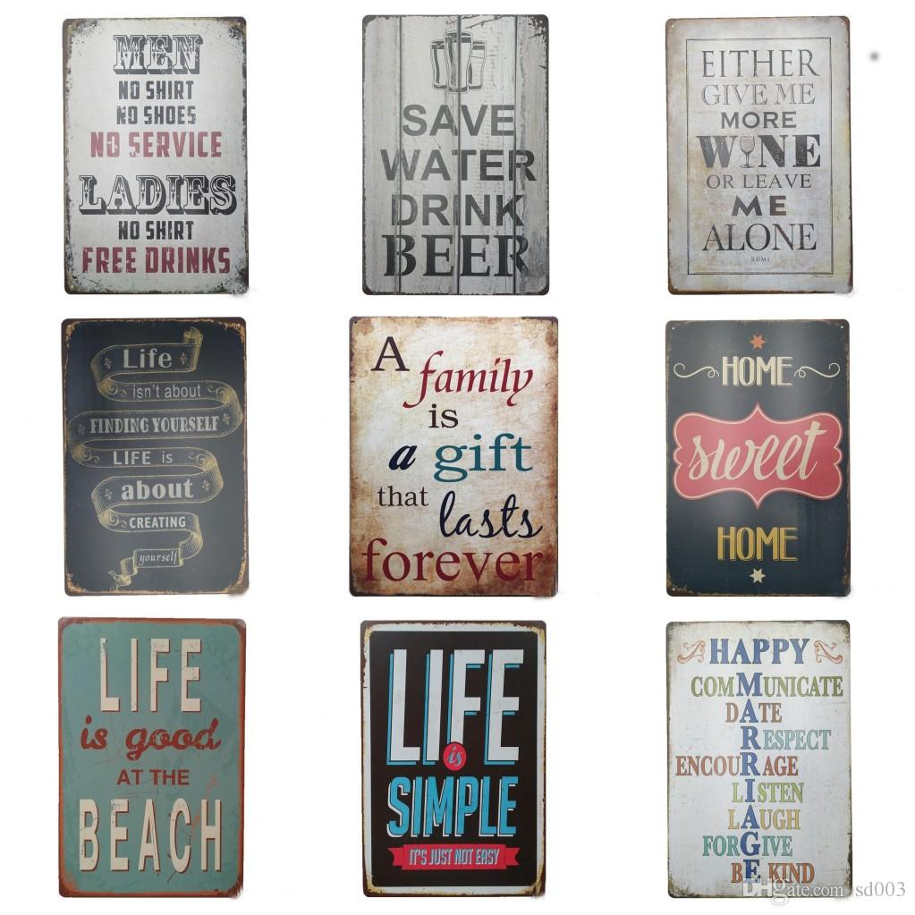 Retro Style Poetry 20*30cm Tin Sign Life Is Good At The Beach Tin Posters  Save Water Drink Beer Iron Painting New Design ZZ