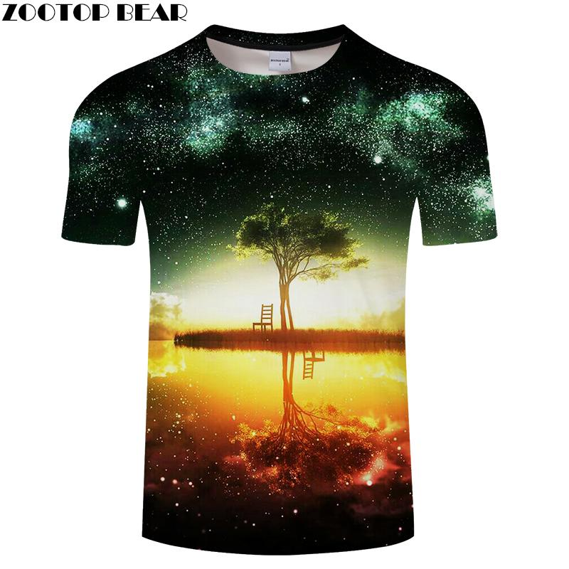 780081042ce4 Tree Inverted Reflection in Water 3D T Shirt for Men And Women 2018 ...