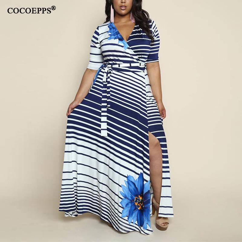 2b3f361f1d692 6XL Plus Size Winter Women Boho Striped Maxi Dresses Autumn Sexy Half  Sleeve Large Big Size Dress With Sahes 5xl Vestidos Y1891001 UK 2019 From  Zhengrui01