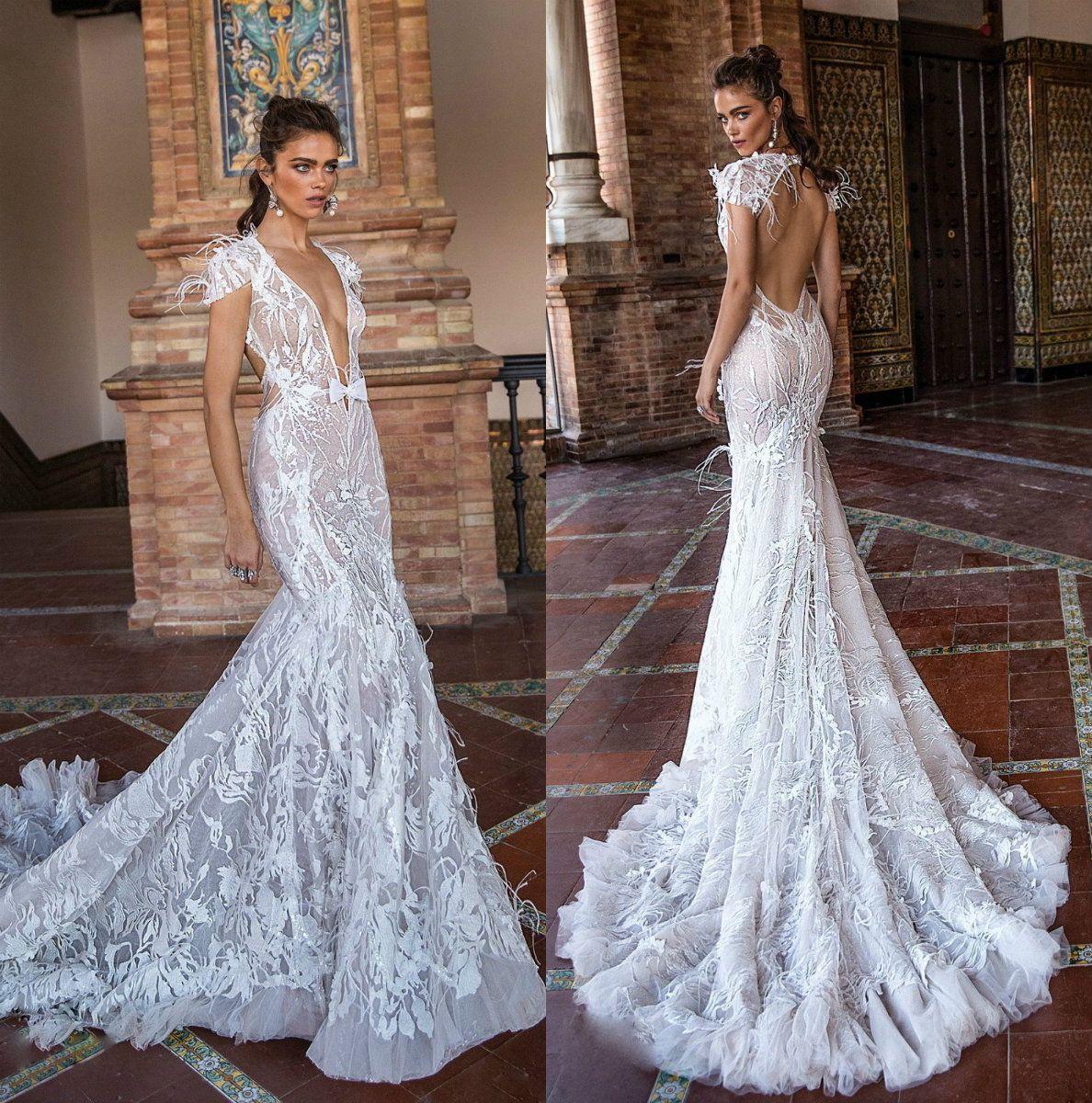 Berta 2019 Mermaid Wedding Dresses V Neck Backless Lace