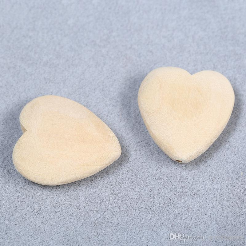 Natural Wood Color Heart Shape Wooden Spacer Beads For Kids Jewelry Making 25mm Horizontal Hole DIY Wood Beads