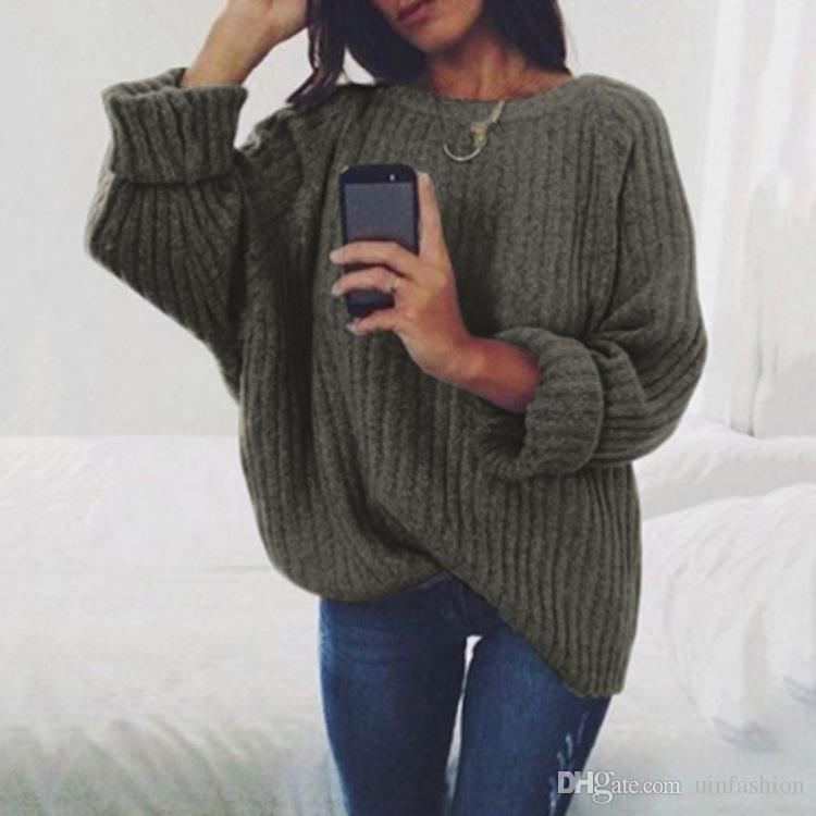 ba4761d6fbd3 2019 New Autumn Winter Women Sweaters Solid Color Soft Pullovers Loose  Knitted Sweaters Female Jumper Pullover Tops From Uinfashion, $12.97 |  DHgate.Com
