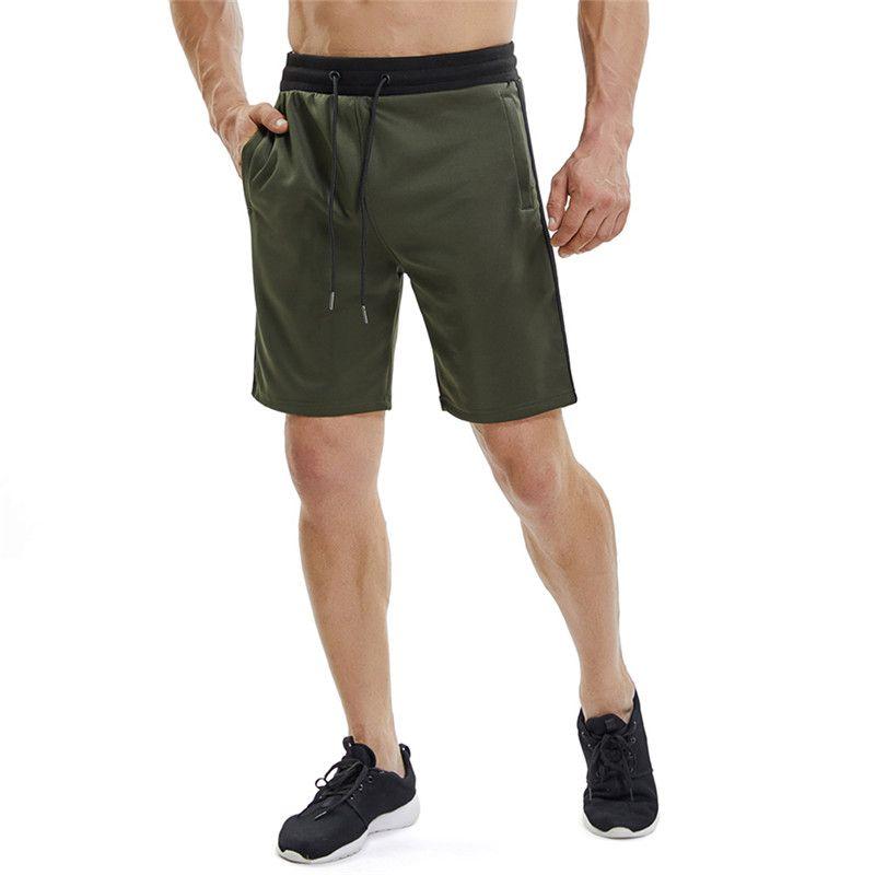 7ed31b5026 Compre Pantalones Cortos De Gimnasio Para Hombre Side Stripe Crossfit Short  Sport Homme Zipper Pocket Gimnasios De Fitness Running Shorts Hombres  Athletic ...