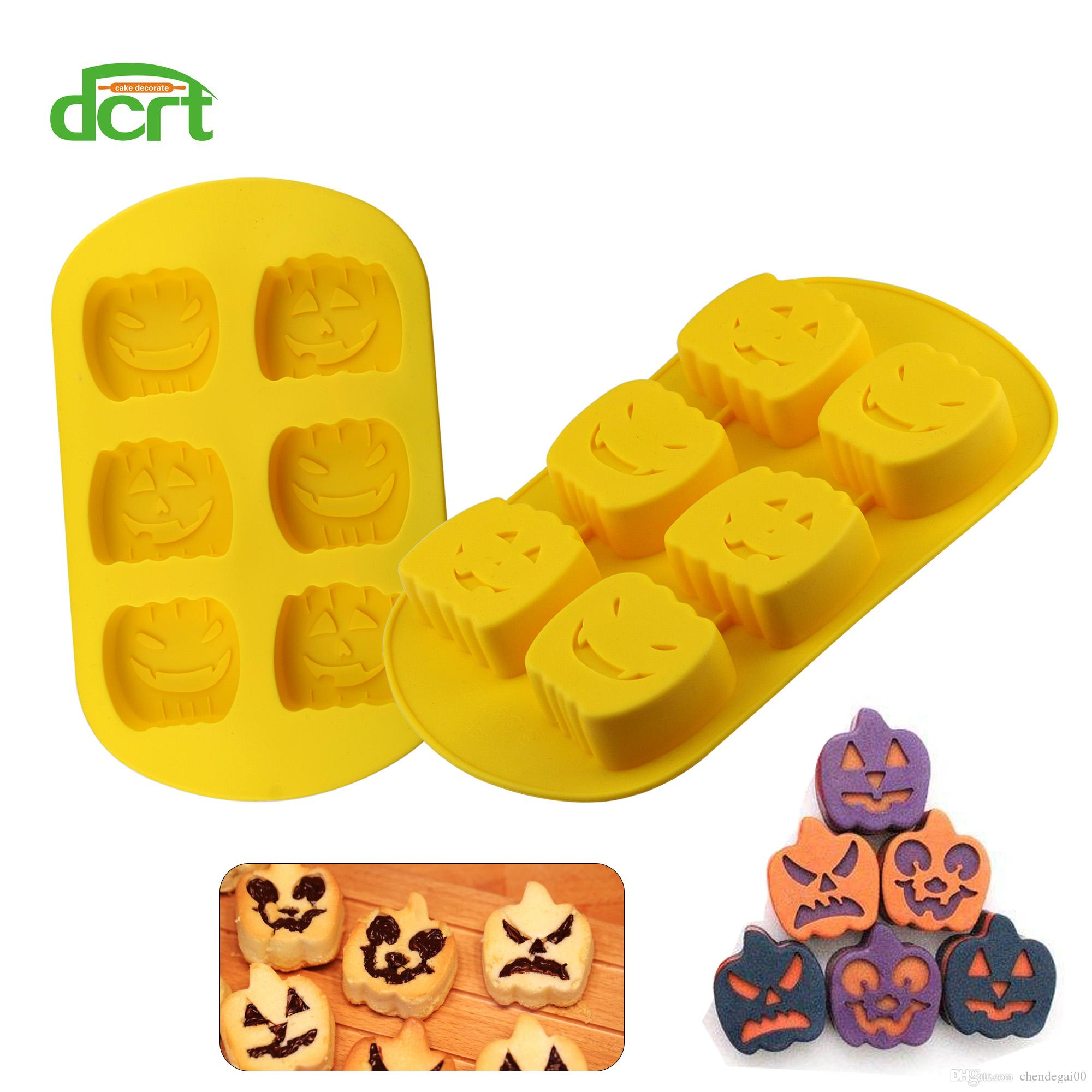 DCRT Silicone 3D Pumpkin Shaped Halloween Cake Mold Baking Tools for Muffin Brownie Cake Pudding Jello Bakeware