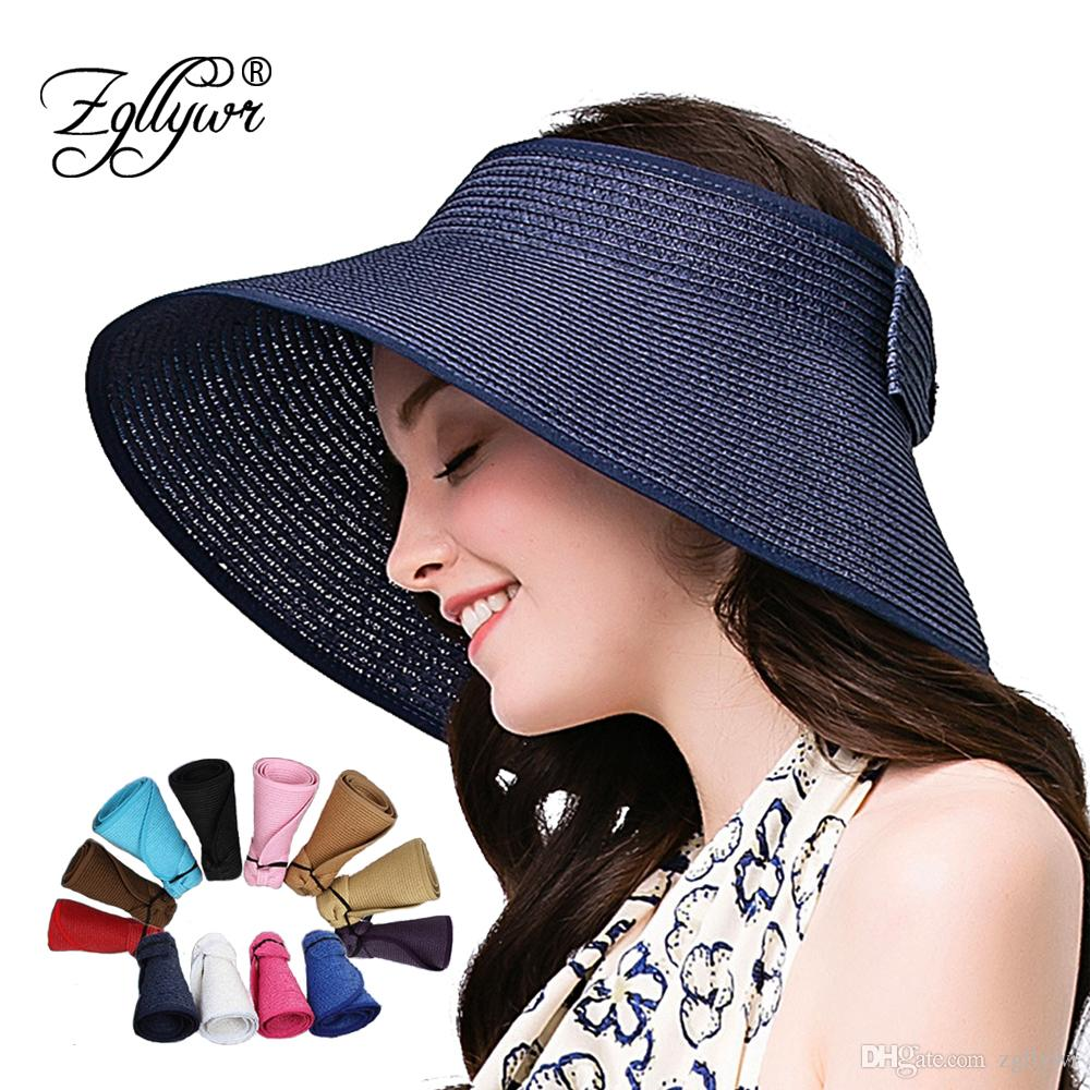 d9456e65647 Zgllywr Women Summer Foldable Beach Straw Sun Visor UPF 50+ Packable  Crushable Roll Up Wide Brim Hat Cute Bowtie Wholesale Hats Easter Hats From  Zgllywr
