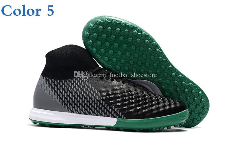 2018 Botas de fútbol para hombre Magista obra II AG TF IC -Volt / Black / Total Orange Tacos de fútbol Zapatos de fútbol de tobillo alto Botas de fútbol de control