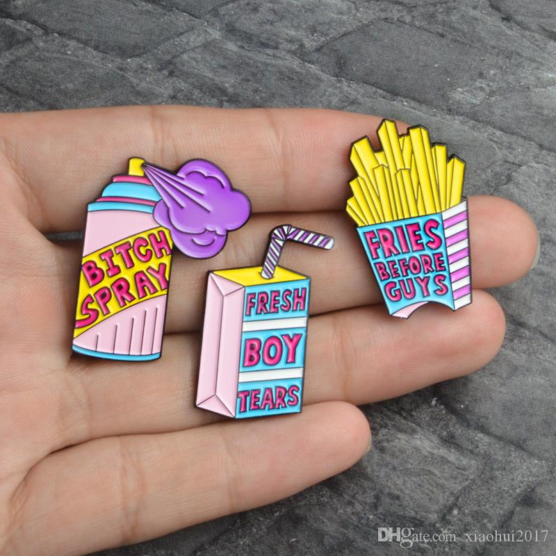 247ecc0e 2019 Enamel Pin Spray Drink French Fries Fresh Boy Tears Fries Before Guys  Brooch Hat Backpack Accessories Lapel Pin Badges Jewelry From Xiaohui2017,  ...