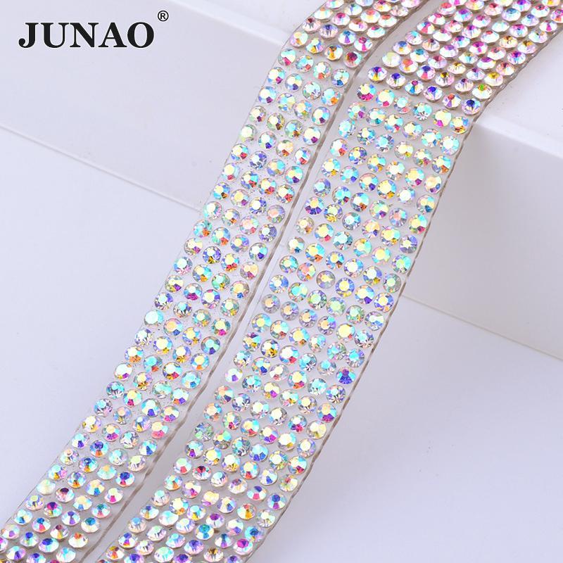 f11c57cf50 JUNAO 5 Yard Hotfix Crystal AB Rhinestones Chain Trim Glass Fabric Mesh  Bridal Beads Applique Clear Strass Crystal Banding For DIY Dress